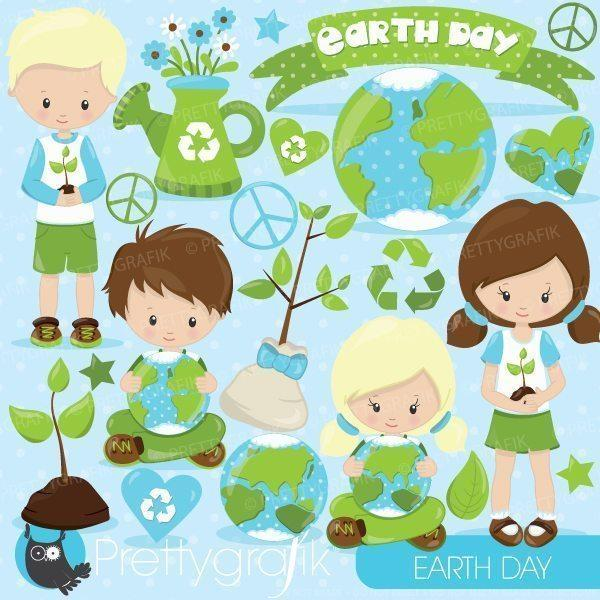 Earth day kids clipart.