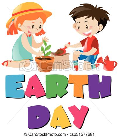 Earth day theme with kids planting tree.