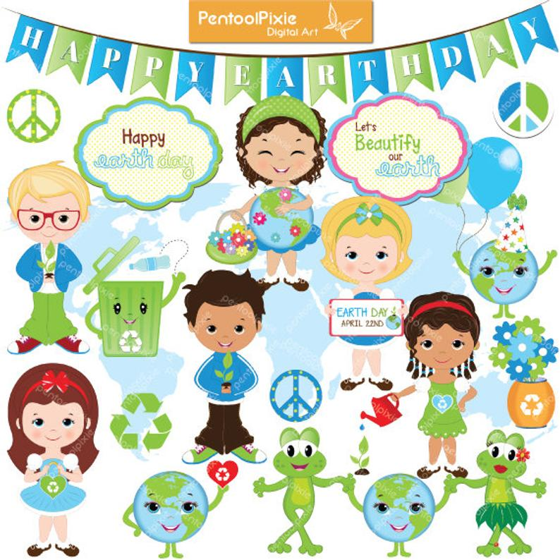 Earth day clipart, Globe, Kids, environmental, educational, Recycle clipart.