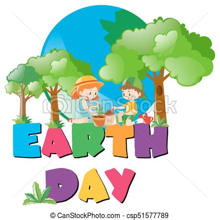 Earth day theme with kids planting in forest.