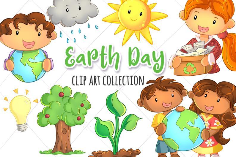 Cute Earth Day Themed Clip Art Collection, Environmental Kids Clipart,  Kawaii Earth Day, Kawaii Weather, Cute Recycling Clip Art, Cute Kids.