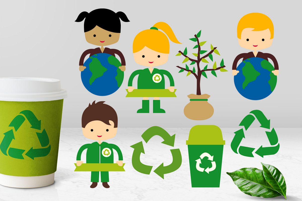 Go green kids recycle icon, trash bin, plant Earth day.