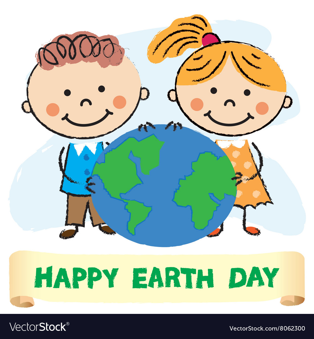 Kids with Earth day.