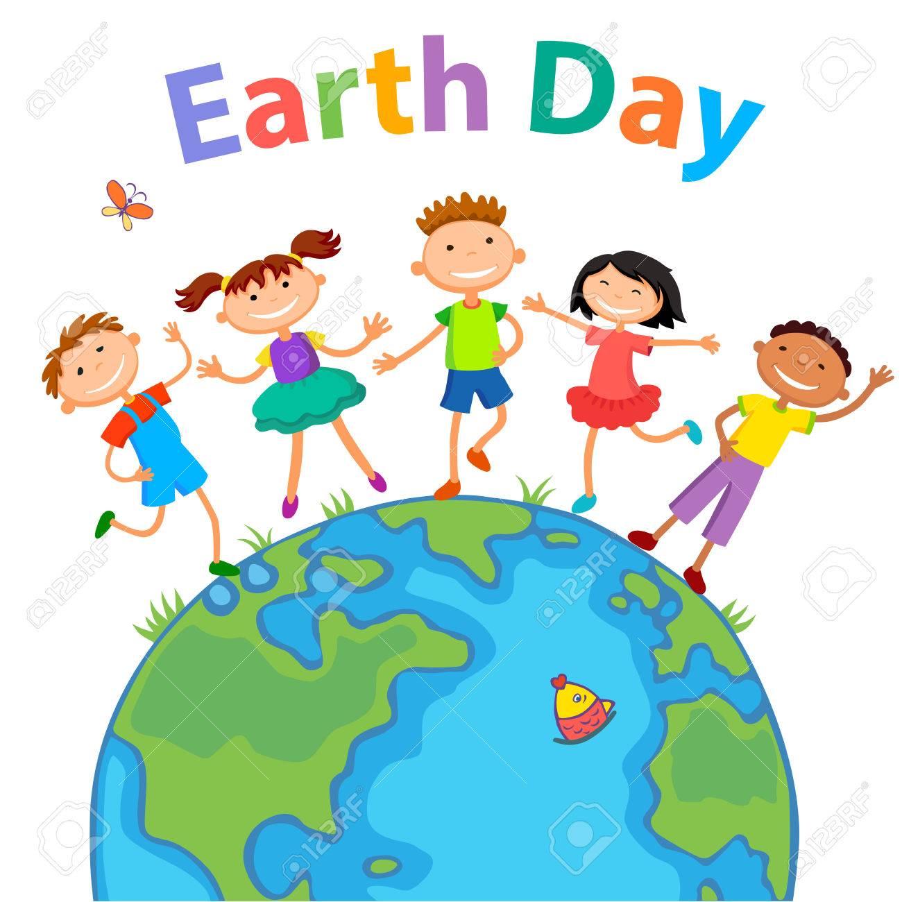 Globe kids on globe. International friendship day. Earth day.