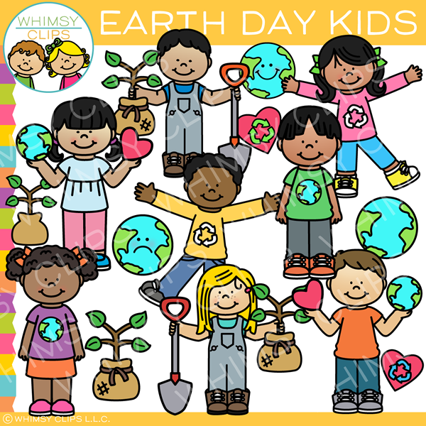 Earth Day Kids Clip Art.