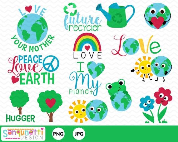Earth Day Clipart, environmental digital art.