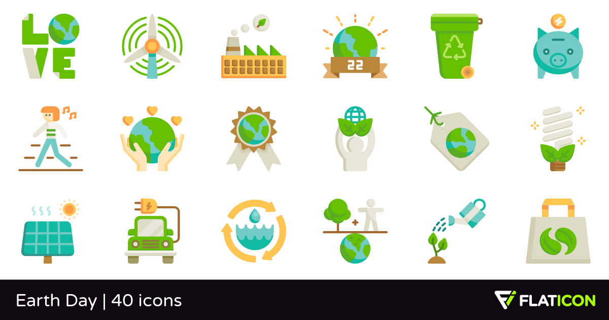 Earth Day 40 free icons (SVG, EPS, PSD, PNG files).