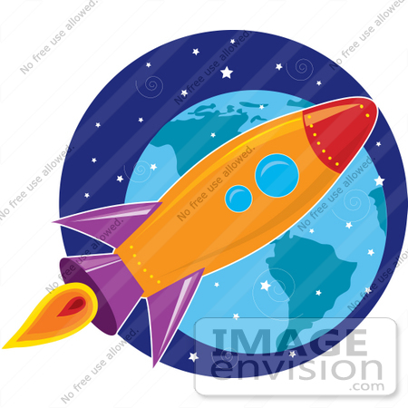 Clip Art Graphic of a Purple, Orange, Blue And Red Space Shuttle.