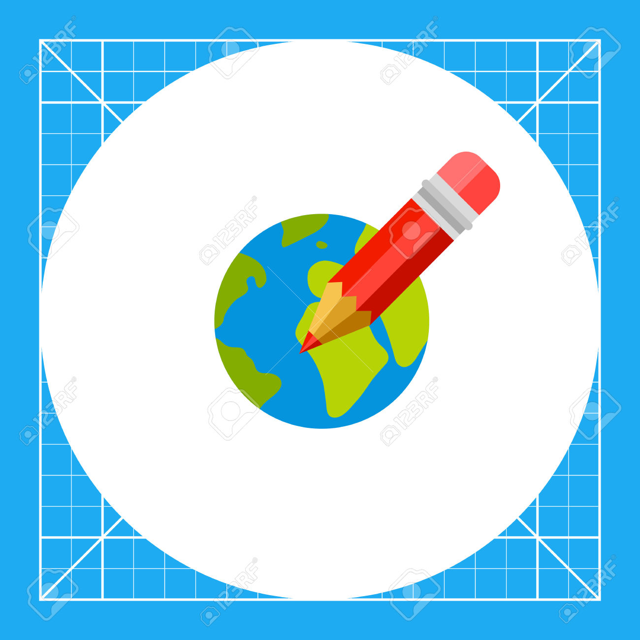 Red Pencil On Background Of Earth Globe. Internet, International.