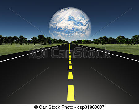 Stock Illustration of Road on Alien earth like planet with twin.