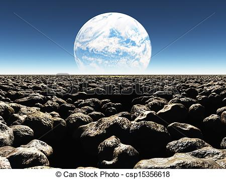 Clipart of Rocky Landscape with planet or earth with terraformed.