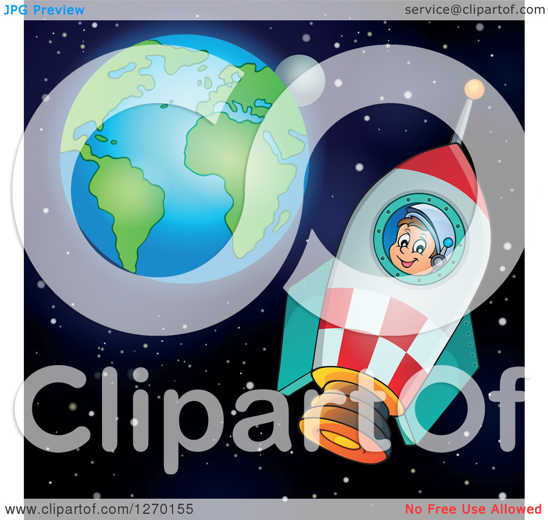 Clipart of a Happy Astronaut Flying in a Rocket with Earth and the.