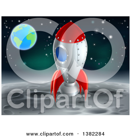 Clipart of a Rocket Ship on the Moon, with Earth in the Distance.