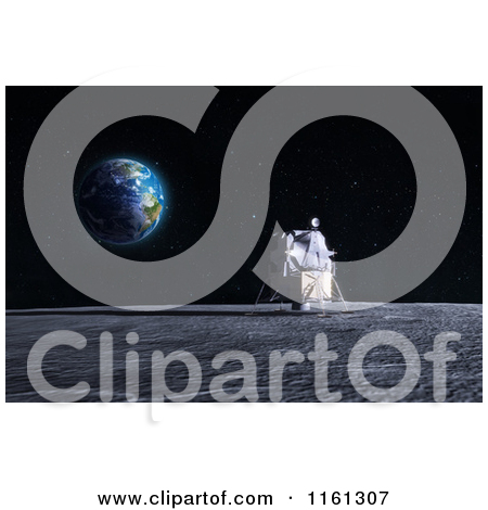 Clipart of a 3d Astronaut Walking on the Moon, with Earth on the.