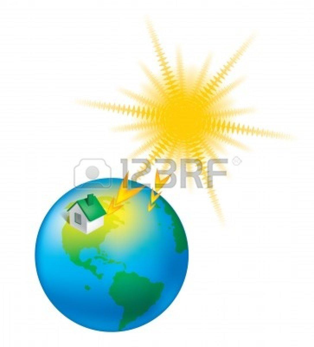 Sun Heating Earth Clipart.