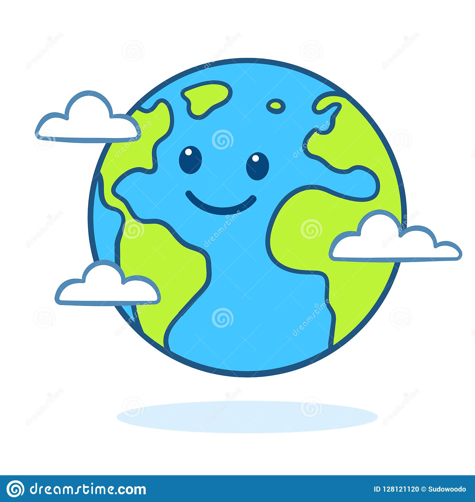Cute cartoon Earth stock vector. Illustration of conservation.