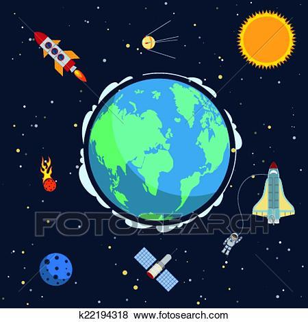 Earth in space Clip Art.