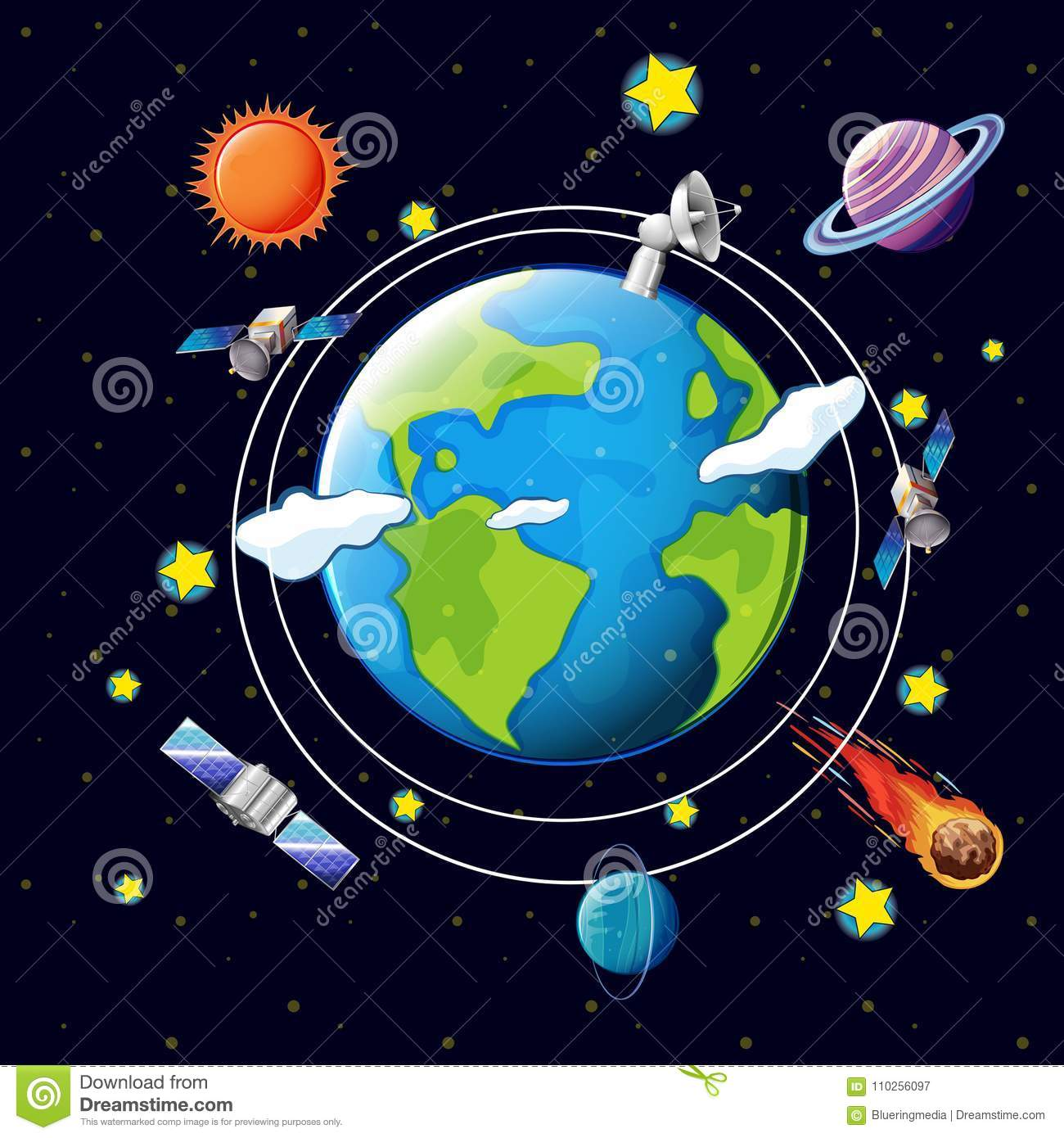 Space Theme With Satellites And Planets Around Earth Stock Vector.
