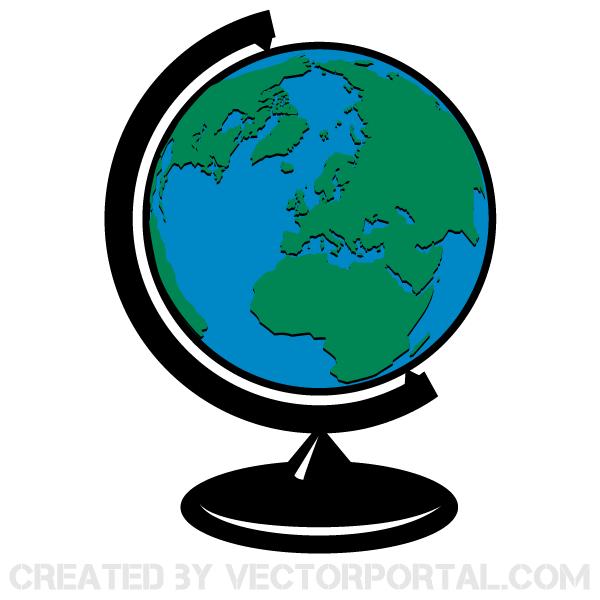 Earth Globe Vector Clip Art.