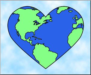Clip Art: Earth: Heart Color 1 I abcteach.com.