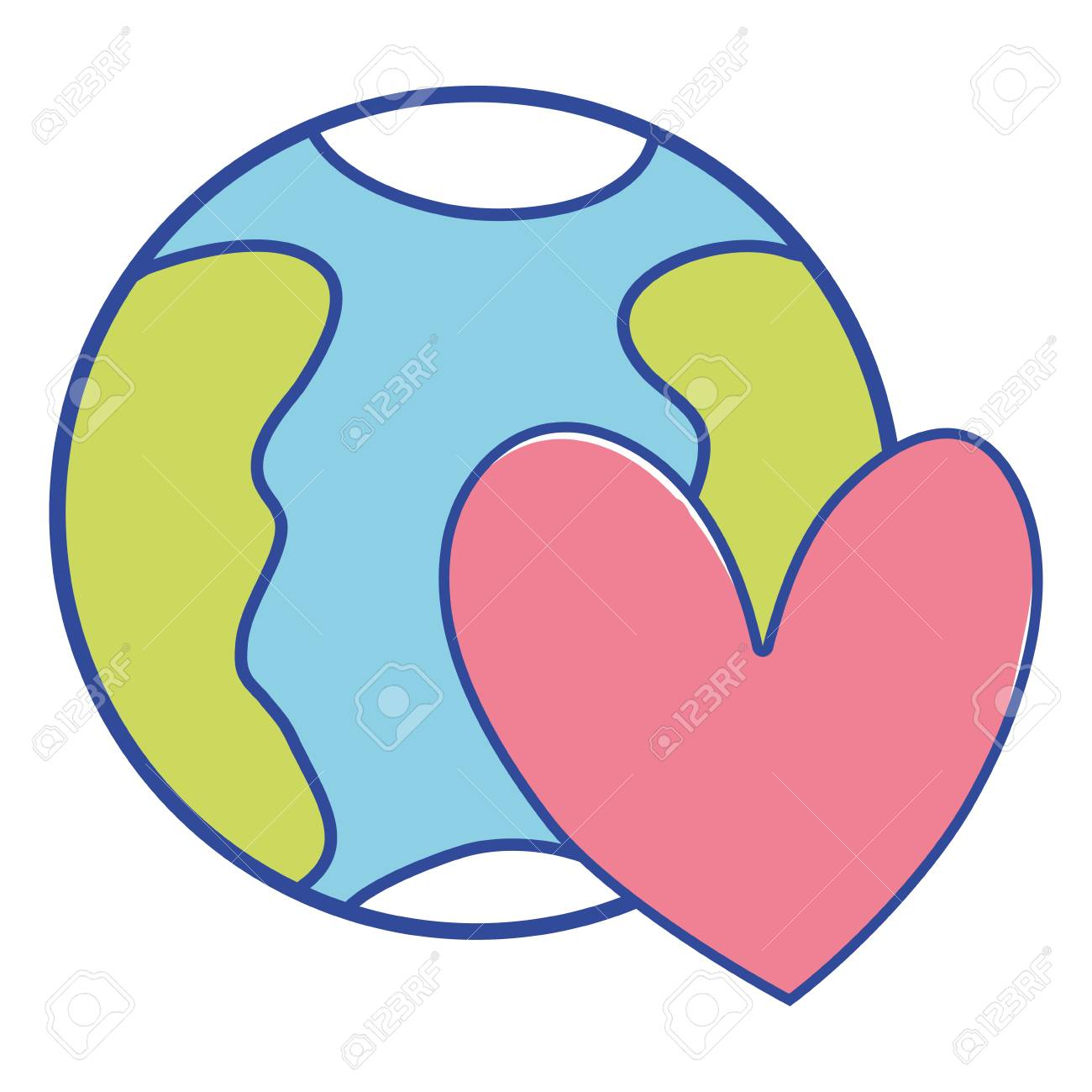 earth planet with heart symbol of love vector illustration.