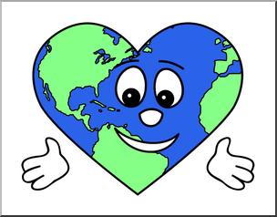 Clip Art: Cute Earth: Heart Color 2 I abcteach.com.