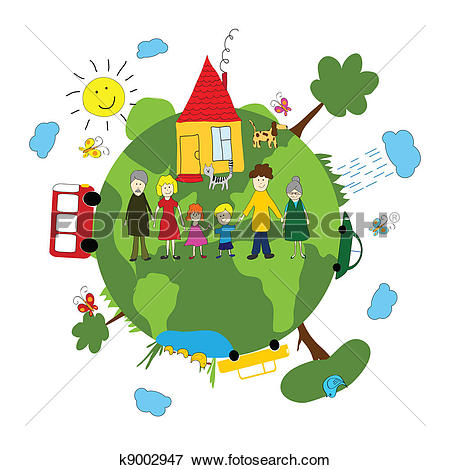 Clipart of Eco earth concept with green city k15803820.
