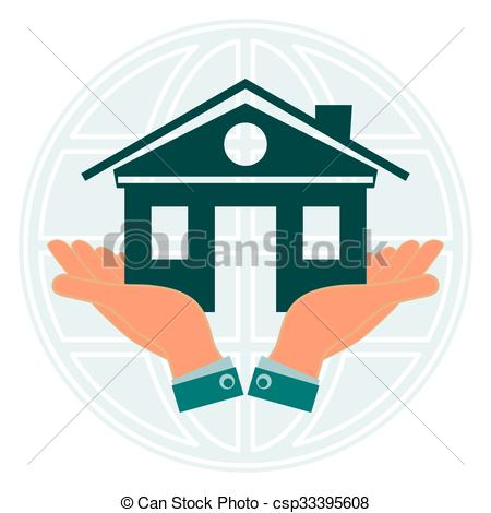 Vector Clipart of The symbol of the house in the hands against the.