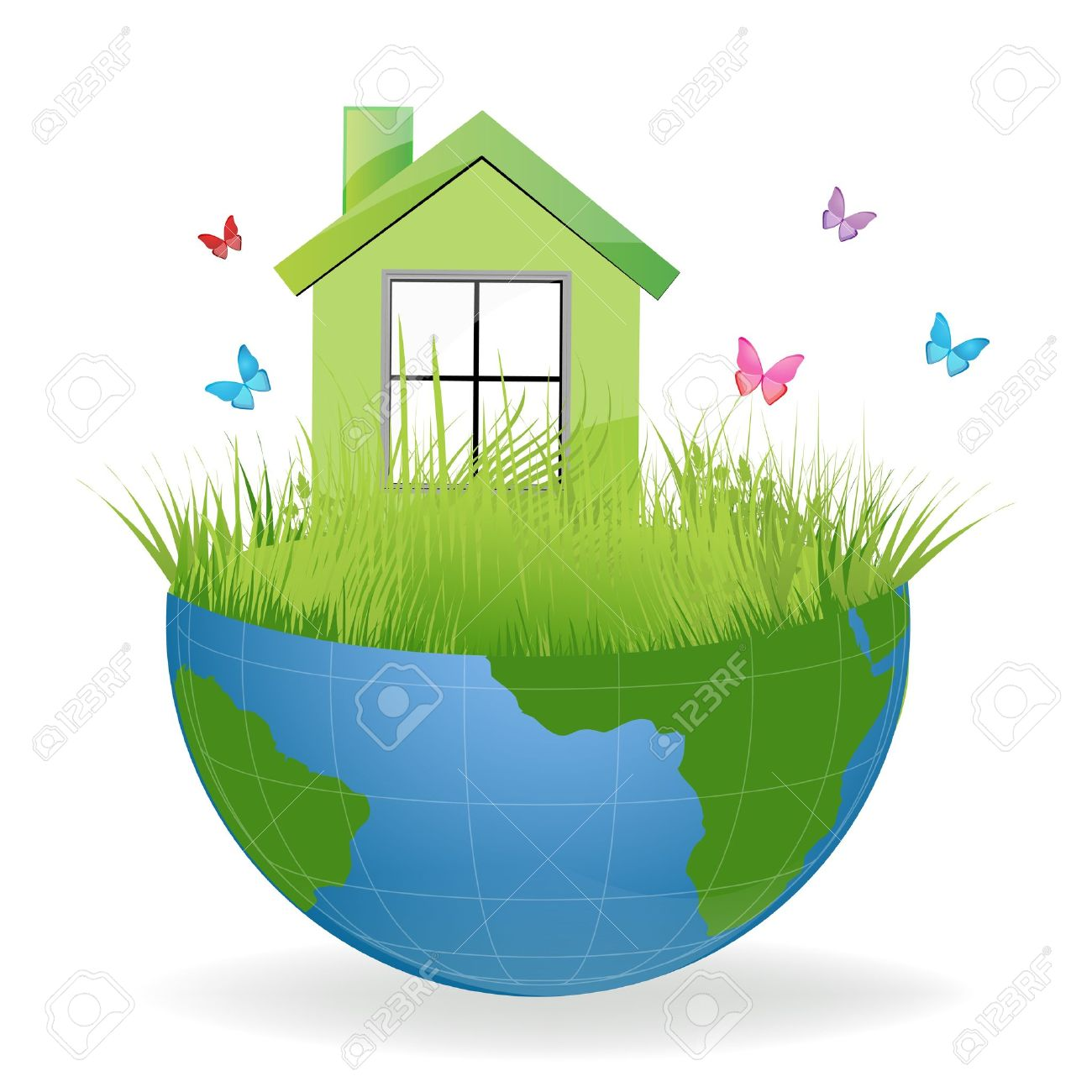 Clipart of a house on the earth.