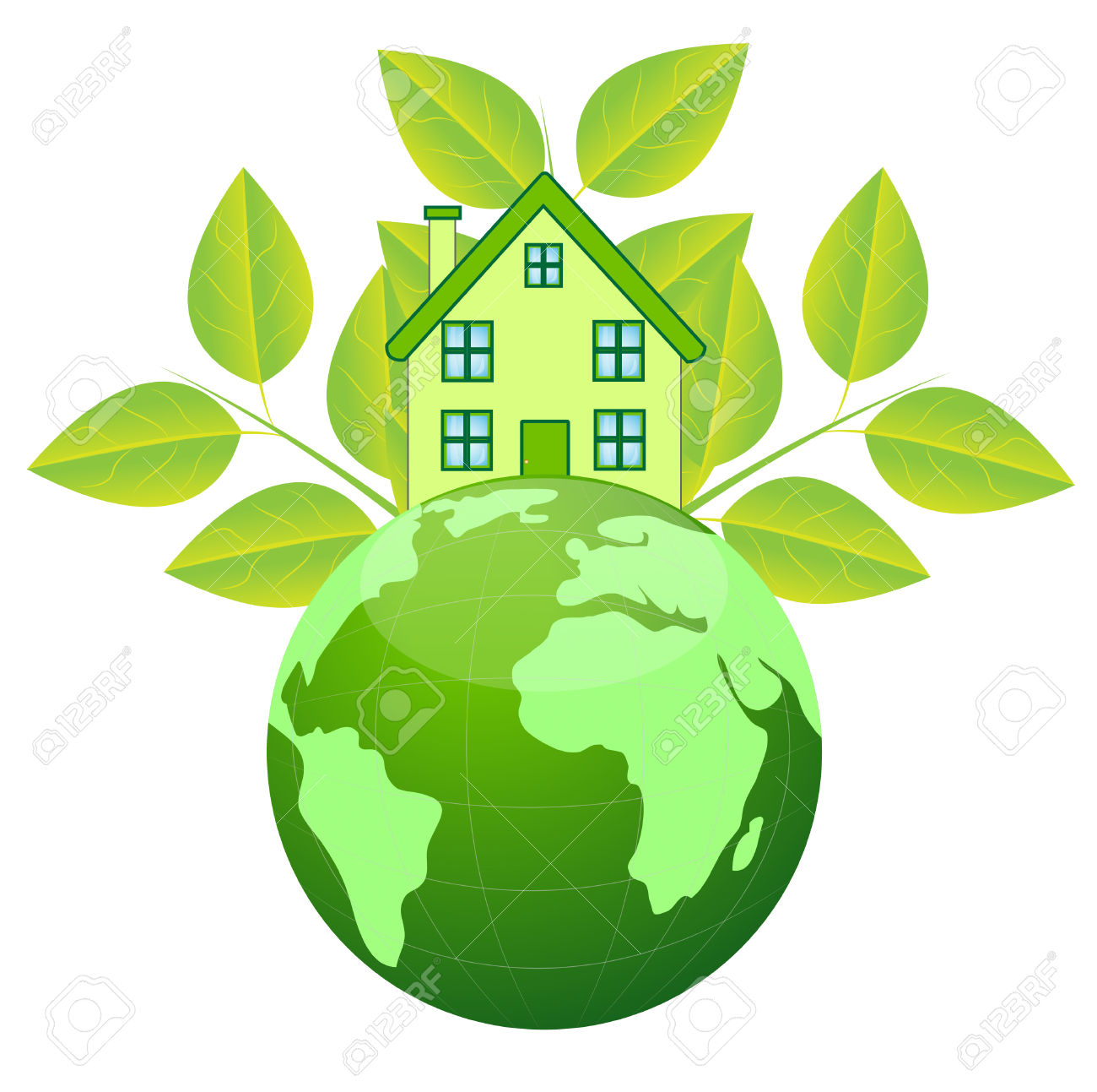 House And Planet Earth On A White Background Royalty Free Cliparts.
