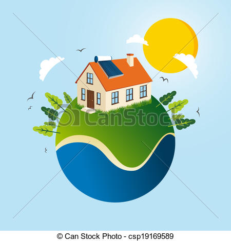Vector of Green Solar energy concept.