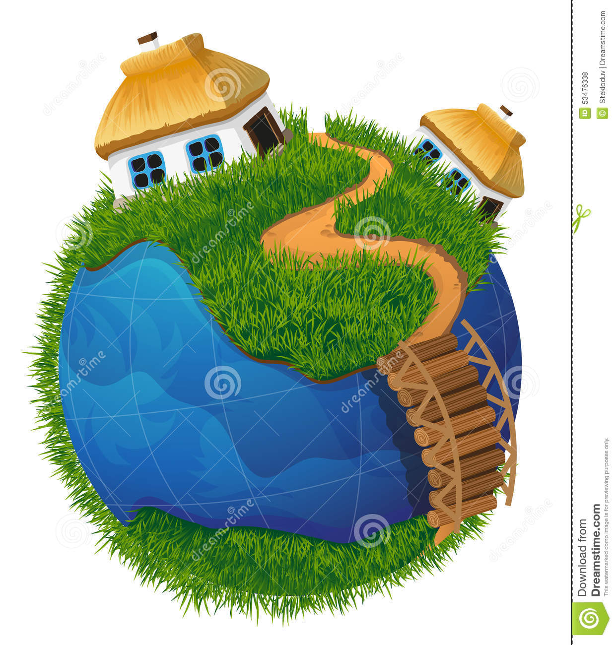 Earth With 3 Houses Clip Art Royalty Free Stock Images.