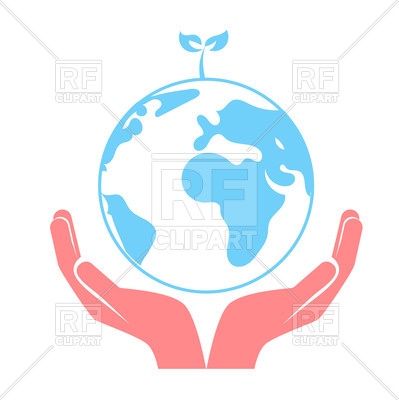 Concept of saving the Earth, hands holding globe Vector Image.