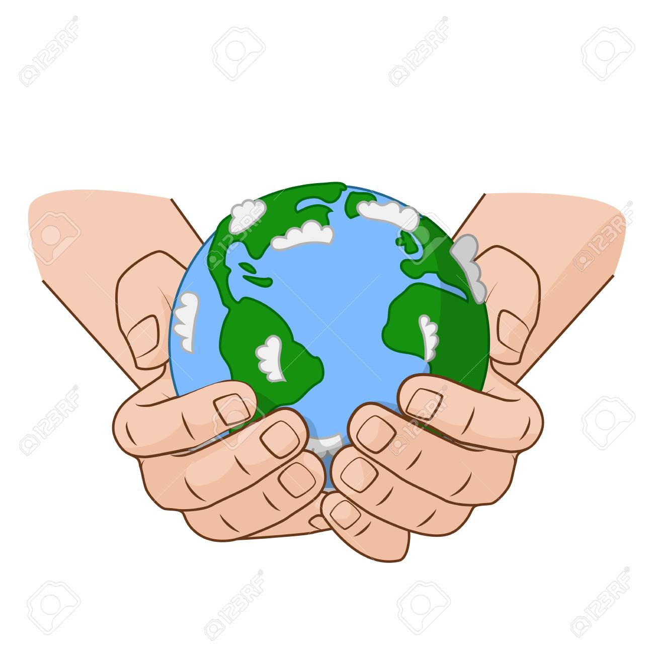 Vector illustration concept on the Earth Day. Hands is holding...