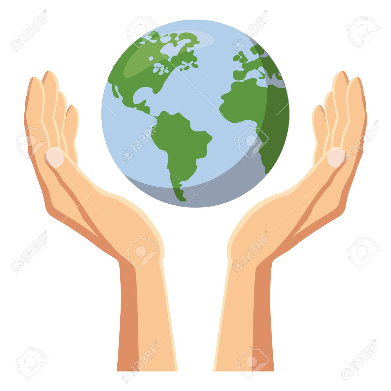 Hands holding globe earth icon, cartoon style.