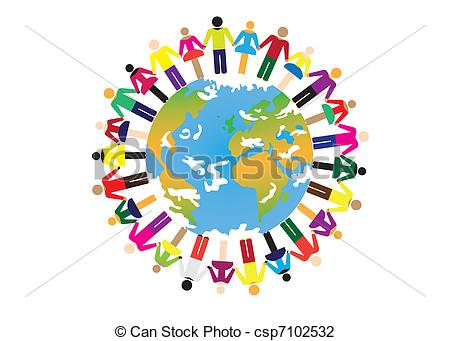 Kind people on earth clipart.
