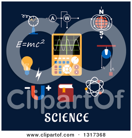 Clipart of a Flat Design Magnet, Electric Power, Atom Model, Earth.