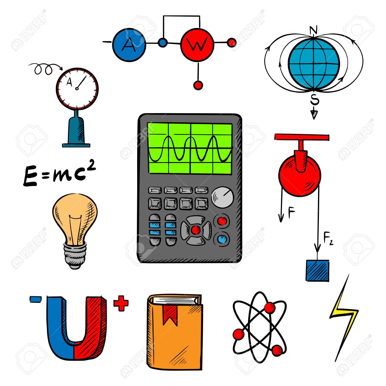 Physics Science Symbols Such As Magnet, Electric Power, Atom.