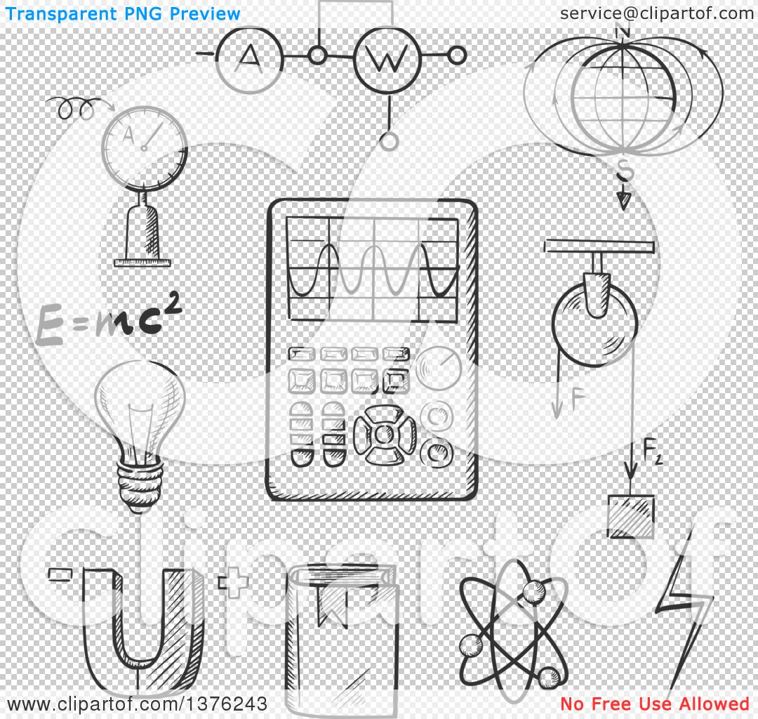 Clipart of a Black and White Sketched Magnet, Electric Power, Atom.