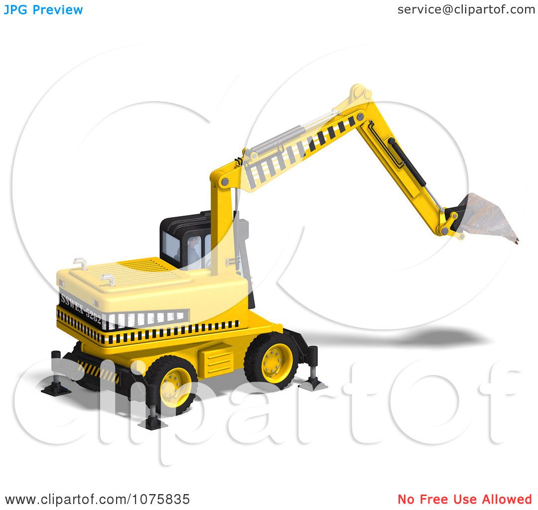 Clipart 3d Earth Mover Excavator 8.