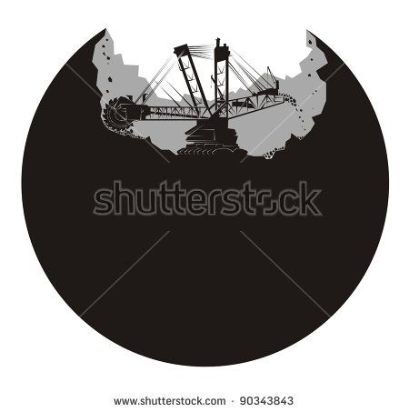 Heavy Coal Earth Mover Excavator Outline Stock Vector 89517229.