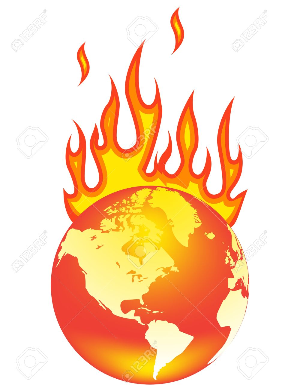 Earth On Fire Clipart.