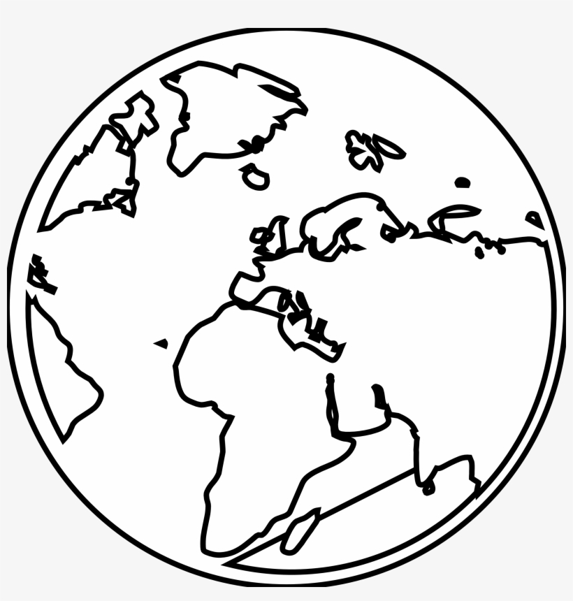 Earth Black And White Outline.