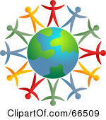 Clipart earth with people around it.