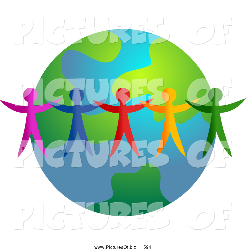 Clipart of a Ring of Colorful People Standing Around an Earth.