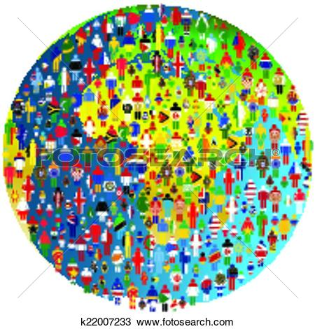 Clipart of Peace concept with Earth Globe and people patterned in.