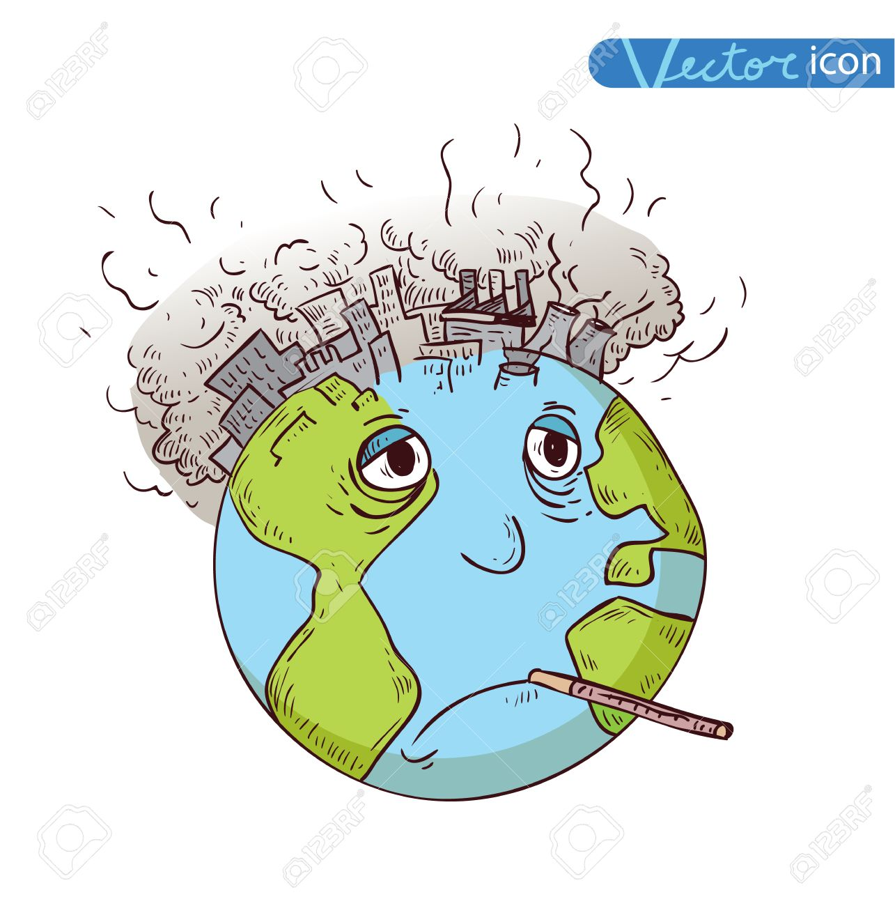 Earth with Pollution, Vector.