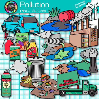 Pollution Clip Art {Earth Conservation of Land, Water, & Air.