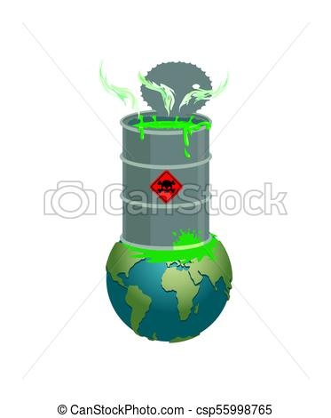 Chemical waste Barrel and earth. Pollution of planet. Nuclear waste. cask  of poison. Pollution of environment..