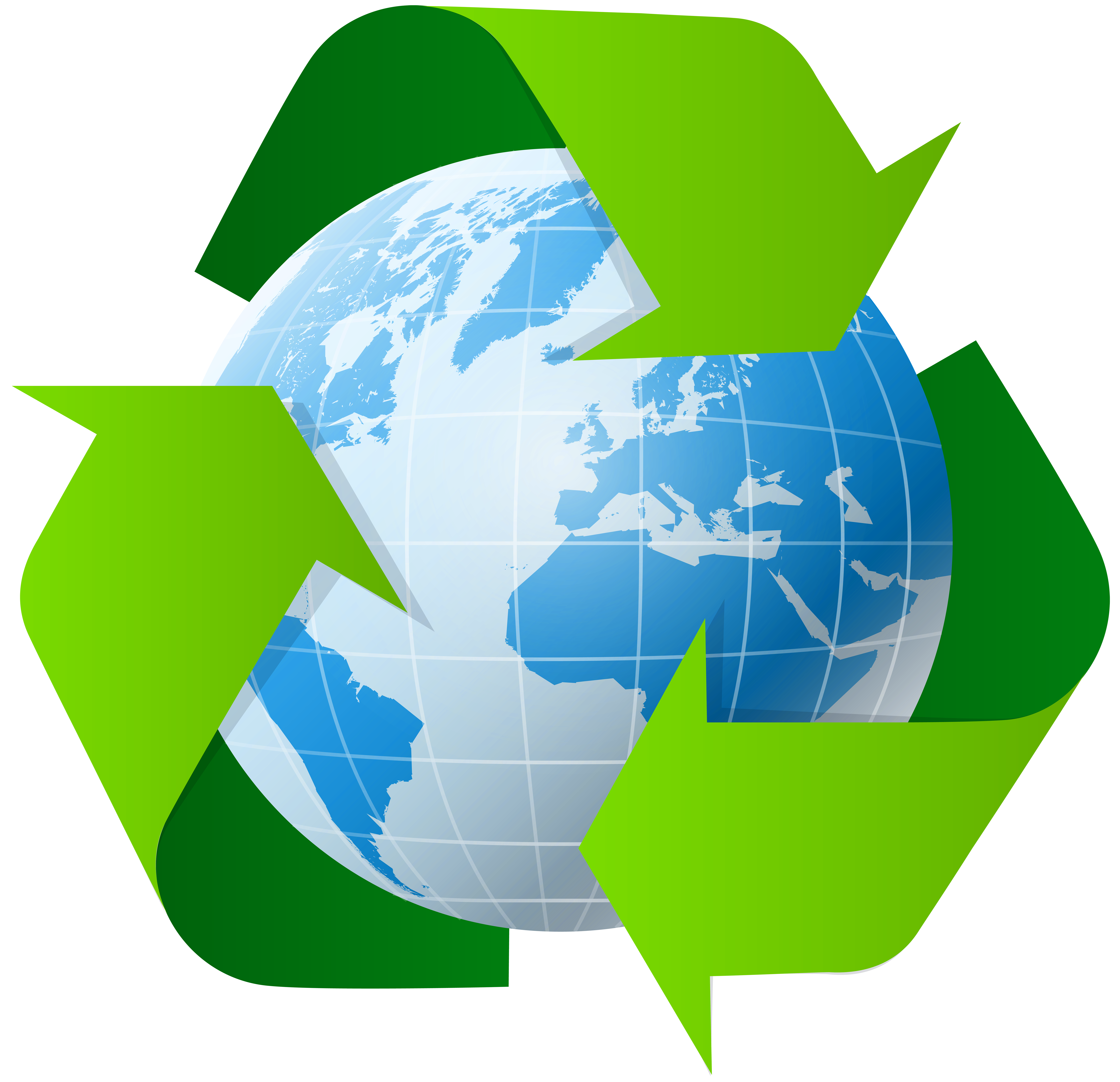 Earth with Recycle Symbol PNG Clip Art.